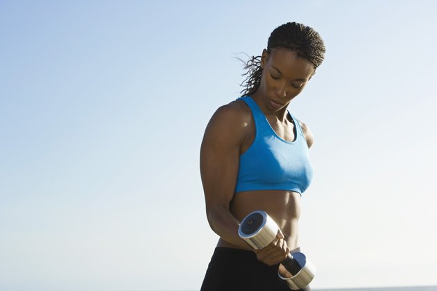 Woman with a dumbbell