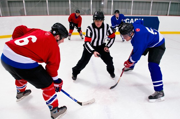 Hockey players at face-off
