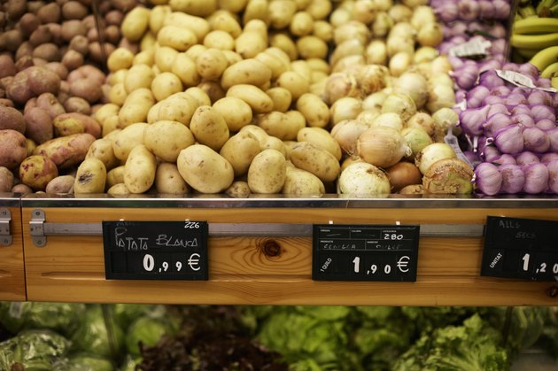 Fresh Potatoes in Produce Section of Grocery Store