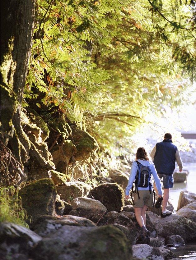 Couple on hike, walking on rocks along river, rear view