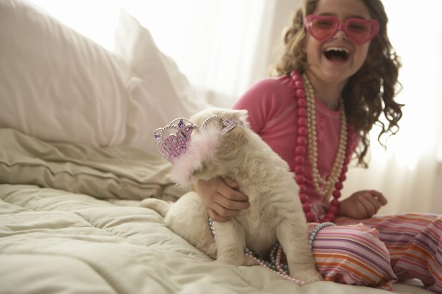 Young girl (8-10) with dog on bed, smiling