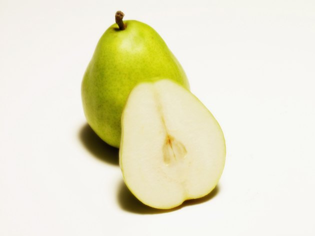 A sliced pear