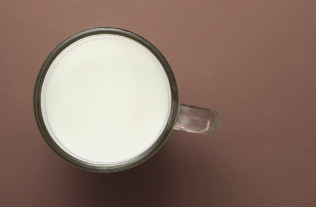 High angle view of a cup of milk