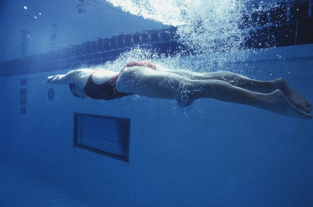 Woman swimming in pool, underwater view