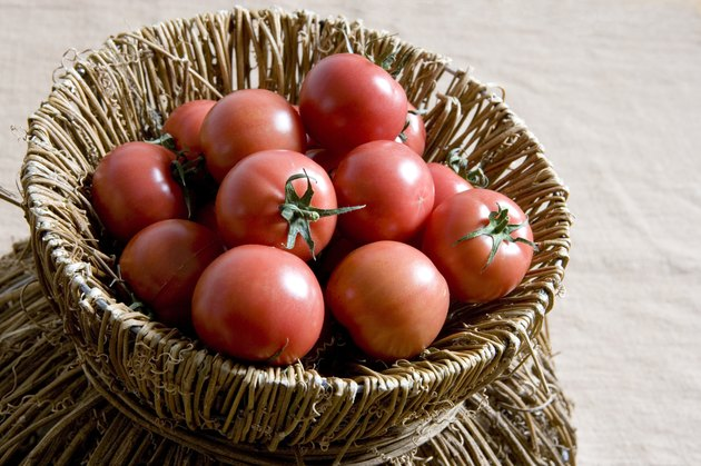 Tomatoes in a bamboo basket