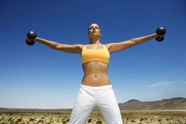 Woman exercising in desert