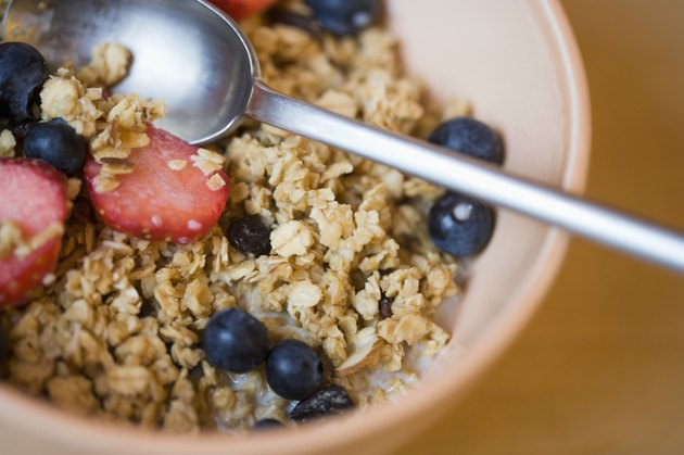 Close-up of bowl of cereal and berries