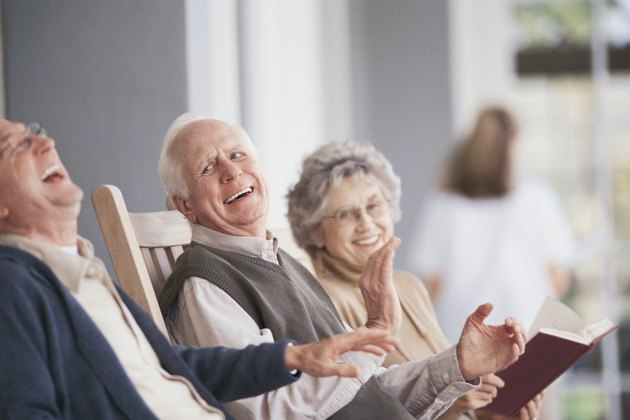 People laughing on porch