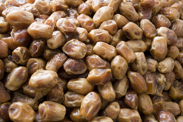 Dubai, UAE, Dates one of many fresh produce for sale at Shindagha Market in Bur Dubai