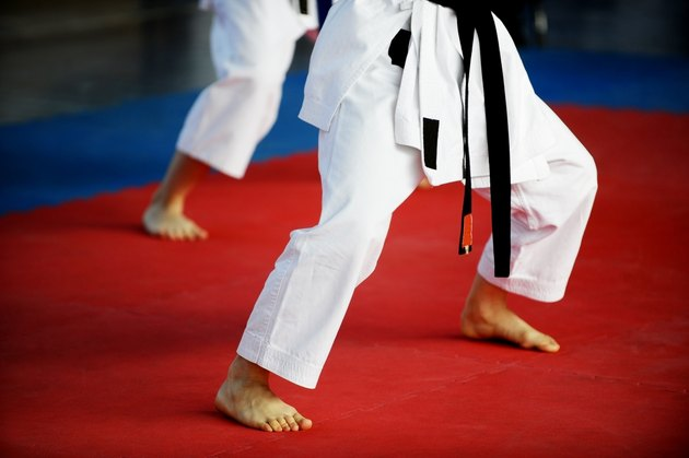 Karate practitioners on competition floor