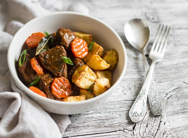 beef goulash with carrots and roasted potatoes