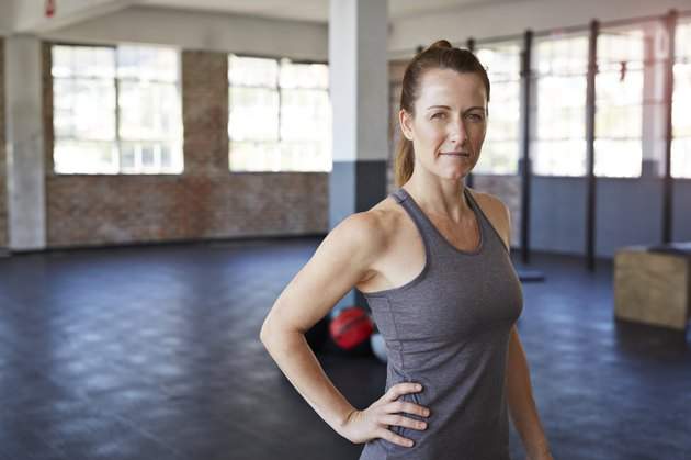 Portrait of female crossfit instructor at gym