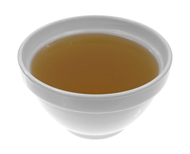 Bowl of clear chicken broth