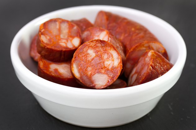 chorizo in white bowl