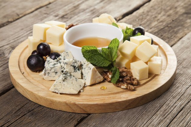 Plate with various cheeses