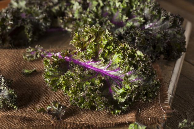 Organic Raw Red Kale on a Background