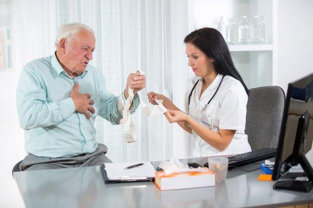 Elderly man has heart problems