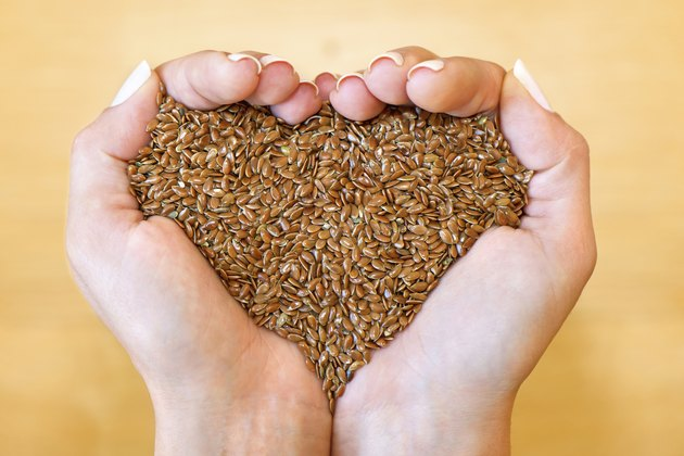 Flax seeds in heart shape