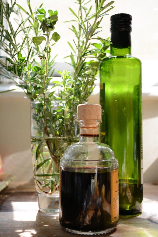 herbs, oil, and vinegar