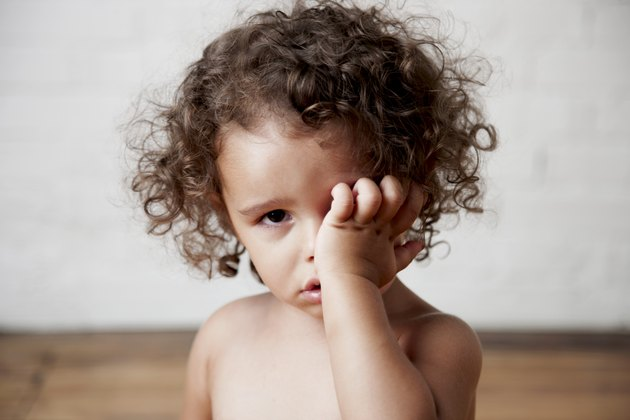Crying Mixed Race Toddler Girl