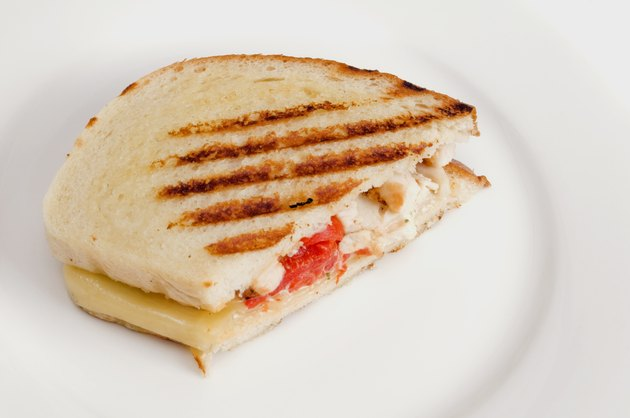 Panini Grilled Sandwich on White Tableware