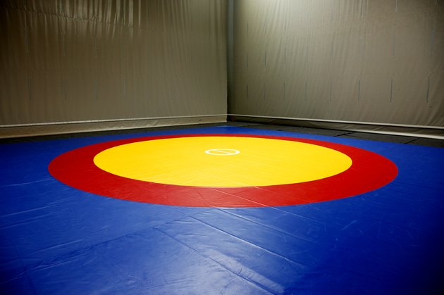 The wrestling mat into the hall