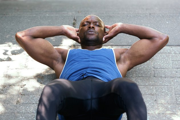 Man working on stomach crunch exercises