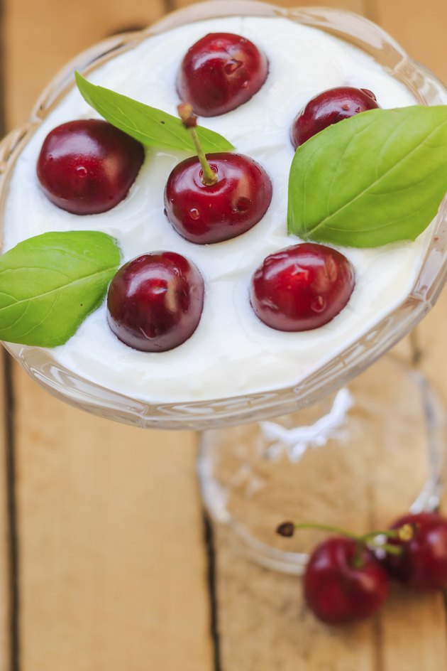 Top view dessert fruit cherries