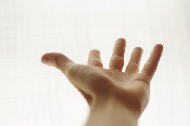 Man hand in white background