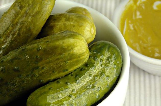 Pickled Cucumbers in a White Dish