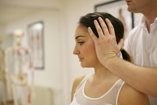 Brunette woman on physical therapy.