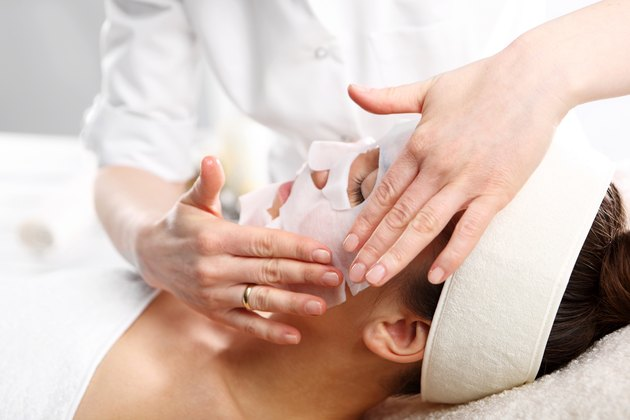 Natural spa, a woman in the mask collagen