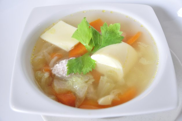 Chinese soups with lot of vegetables, healthy-meal and yummy