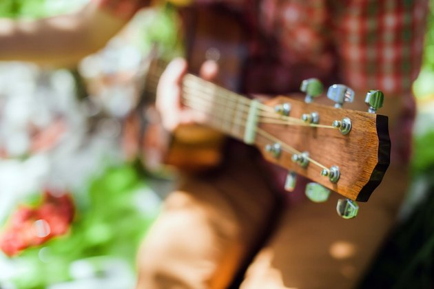 guitar on picnic in park