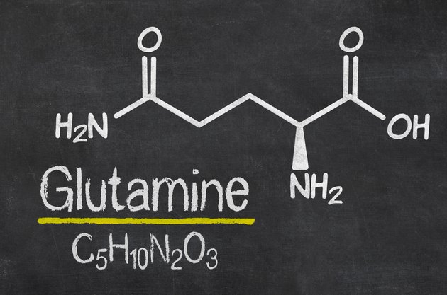 Blackboard with the chemical formula of Glutamine