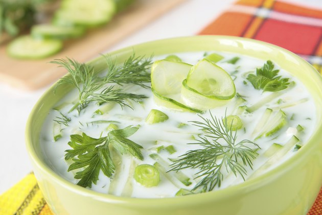 Bowl of yogurt soup with cucumber