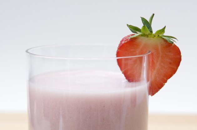 Close up of strawberry milkshake