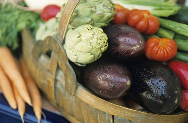 Basket of vegetables in garden, close-up