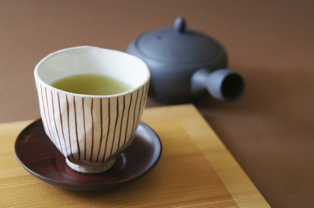 Cup and Japanese green tea