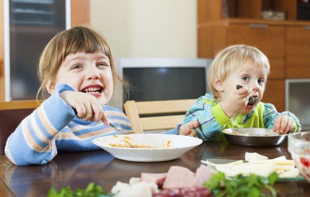 happy children eating food