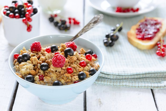 Granola with berries for breakfast