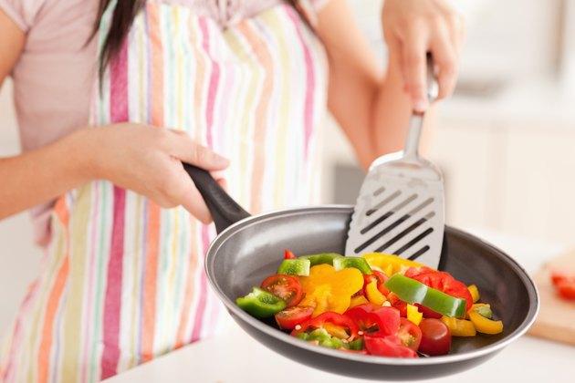 Vegetables being fried