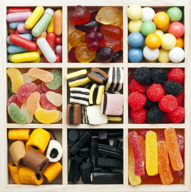 assorted sweets in a square shadow box