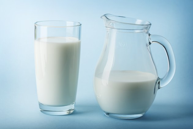 Glass jug and glass with milk