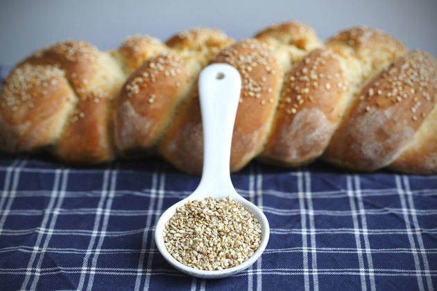 Sesame and braided artisan bread loaf