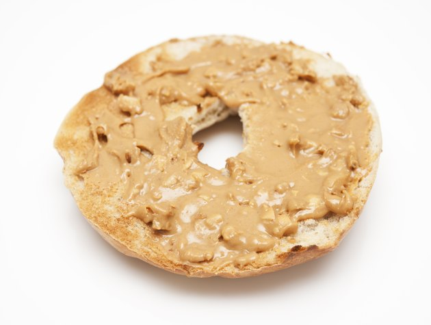 Toasted bagel with peanut butter