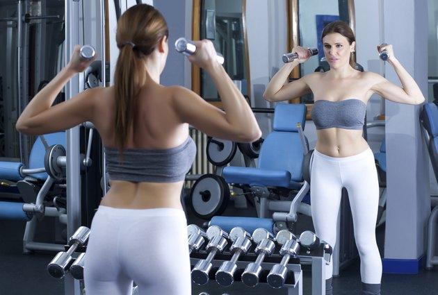 beautiful brunette girl exercise