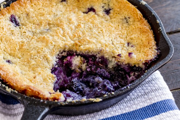 Blueberry Cobbler Baked in Cast Iron Skillet