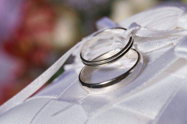 Wedding rings and ribbons