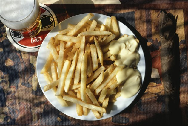 Beer and French fries with mayonnaise, Holland